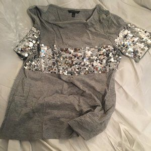 Banana Republic grey top with silver payettes
